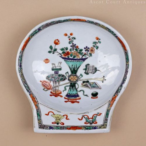 18th Century Kangxi Famille Verte Export Porcelain Porringer Bowl