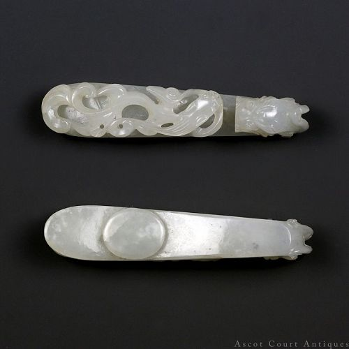 19th Century Qing Khotan Mutton's Fat White Jade Qilong Belt Buckle