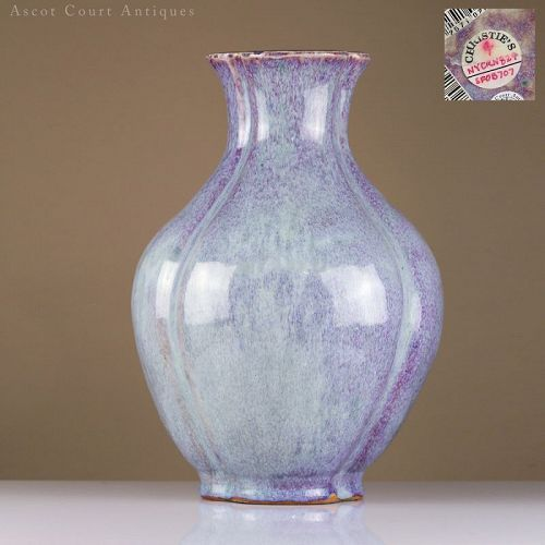 18th Century Jun-type Flambe Glaze Quatrefoil Vase Ex-Christie's