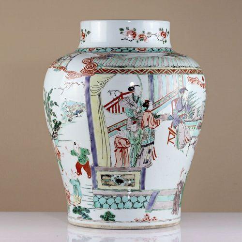 18th or 19th c Famille Verte Figural Porcelain Jar Vase Kangxi
