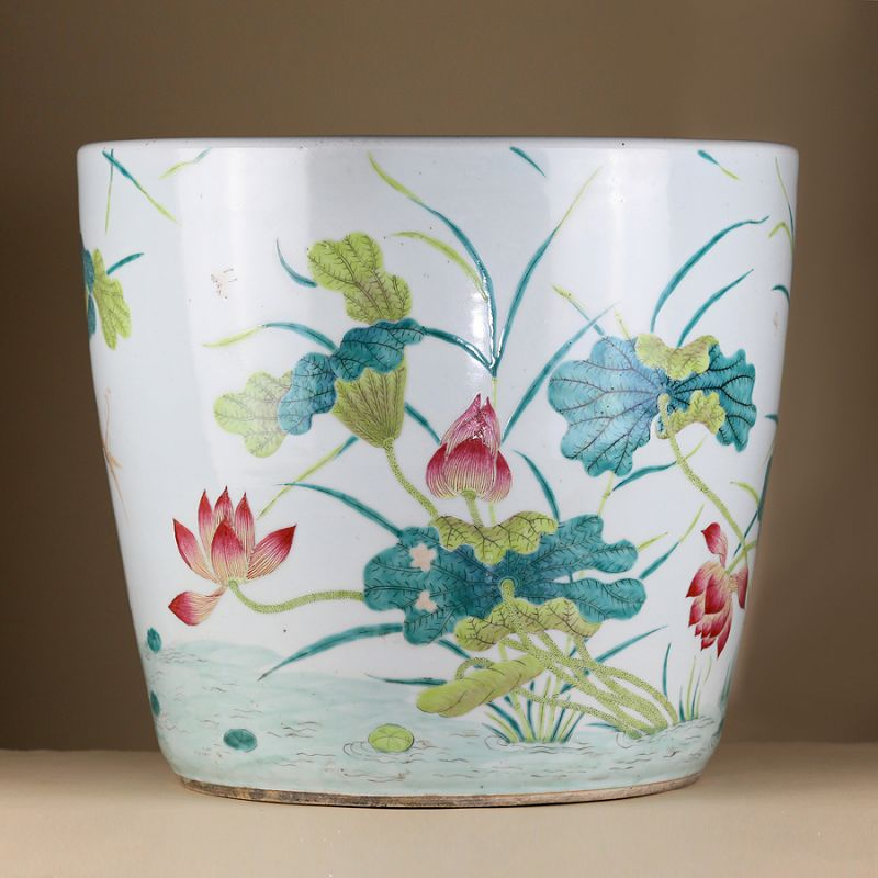 19th c Qing Dynasty Daoguang Famille Rose Porcelain Jardiniere