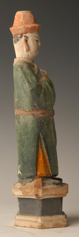 Ming Dynasty, Chinese Green Glazed Pottery Court Man