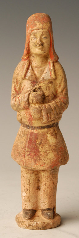 Sui Dynasty, Chinese Painted Pottery Warrior