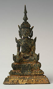 19th C., Rattanakosin, Thai Bronze Seated Crowned Buddha