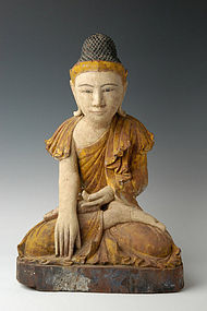 Early 19th C., Mandalay, Burmese Wooden Seated Buddha
