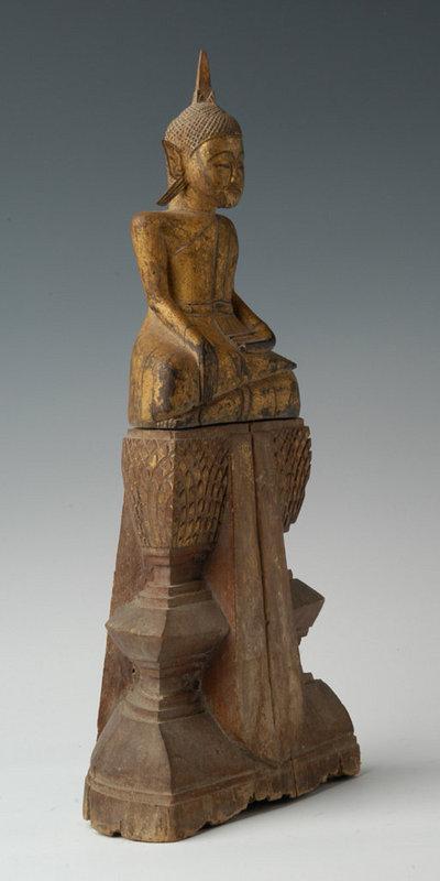 19th Century, Rattanakosin, Thai Wooden Seated Buddha