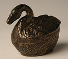A Silver Box in the Form of Swan