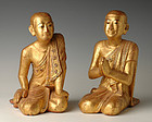 19th Century, Mandalay, A Pair of Burmese Wooden Seated Disciples