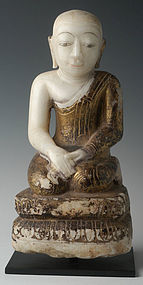 18th C., Shan, Burmese Alabaster Sitting Disciple