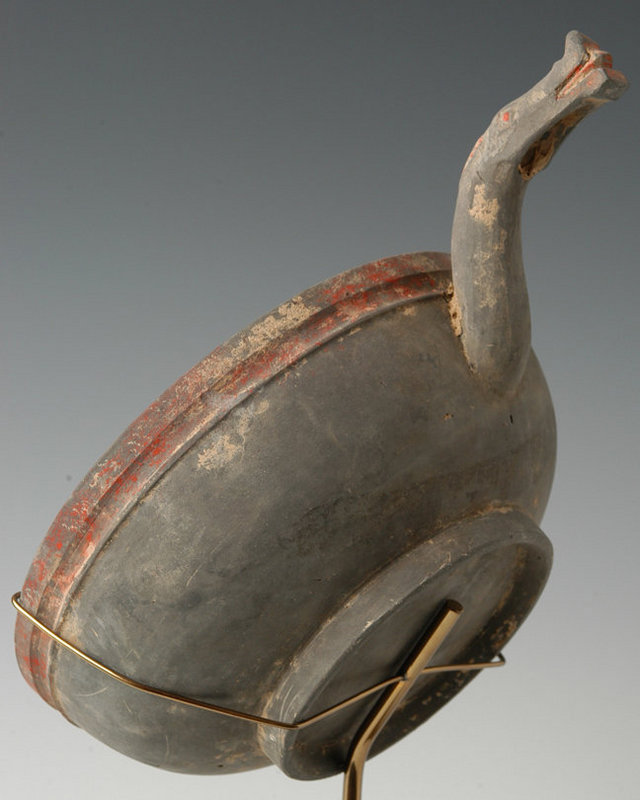Han, Chinese Pottery Laddle with Dragon Handle
