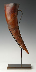 19th C., Burmese Buffalo Horn Musical Instrument