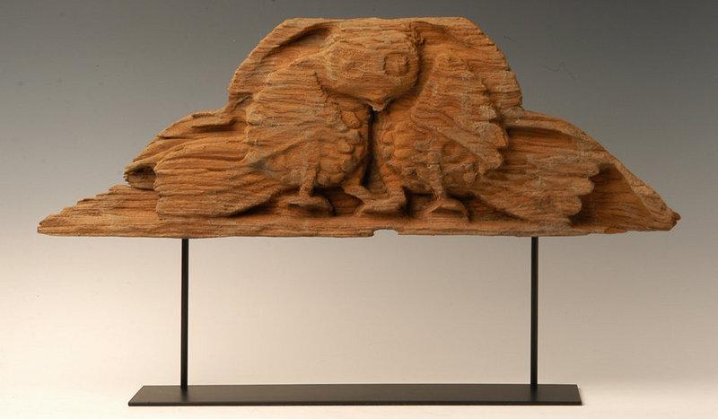 Burmese Wooden Panel With Double Birds Design