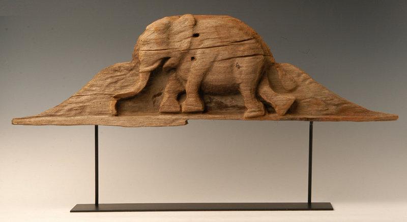 Burmese Wooden Panel with Elephant Design