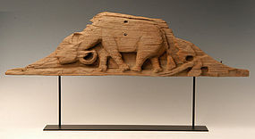 Burmese Wooden Panel with Buffalo Design