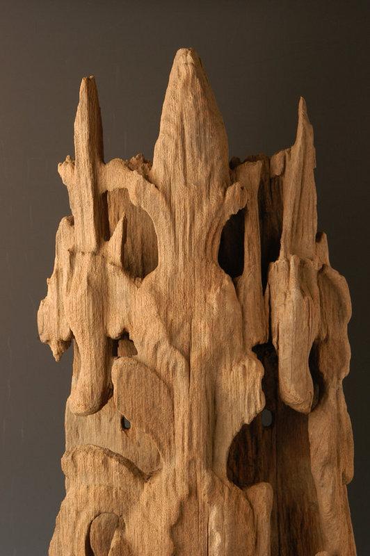 Burmese Wooden Panel with Flower Design