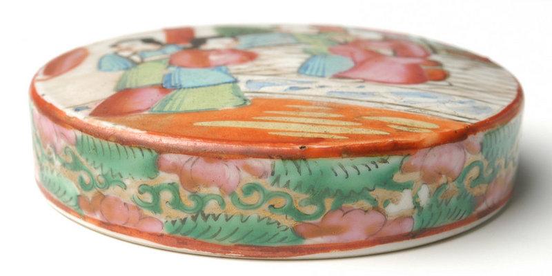 A Chinese Export Rose Mandarin Covered Dressing Jar