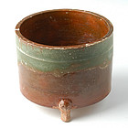 Han Dynasty, Chinese Pottery Container with Green & Amber Glaze