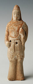 Northern Wei Dynasty, Chinese Painted Pottery Warrior