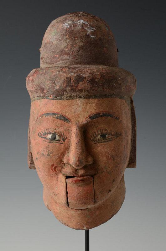 20th Century, Large Burmese Wooden Puppet Head