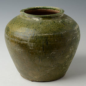 Chinese Pottery Vase in Globular Form with Green Glaze