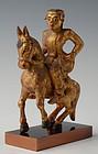 19th Century, Mandalay, Burmese Wooden Figure Riding Horse