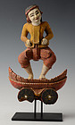 Burmese Wooden Standing Figure on Vehicle
