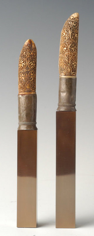 19th Century, A Pair of Burmese Ivory Knife Handles