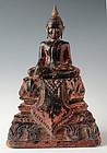 18th C., Khmer Wooden Seated Buddha