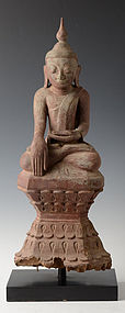 17th-18th C., Burmese Wooden Seated Buddha