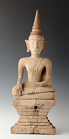 19th Century, Laos Wooden Seated Buddha
