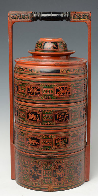 20th C., Burmese Lacquered Food Container with Design