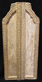 19th C., Thai Wooden Doors with Flower Design