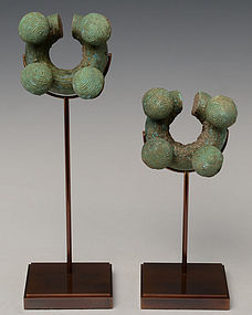500 B.C., A Pair of Dong Son Bronze Bracelet with Bell Design