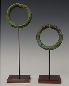 A Pair of Dong Son Bronze Bangles with Frogs Design