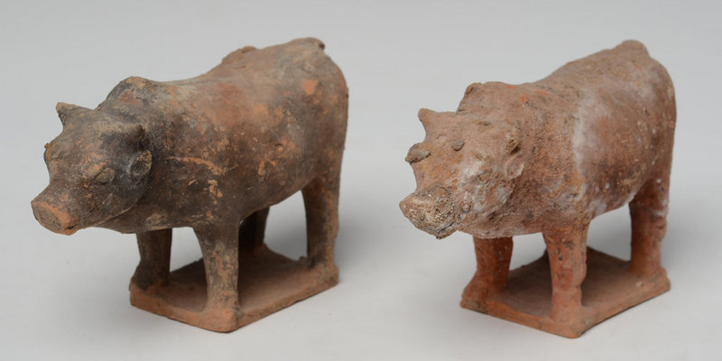 Tang Dynasty, Miniature Chinese Painted Pottery Cow