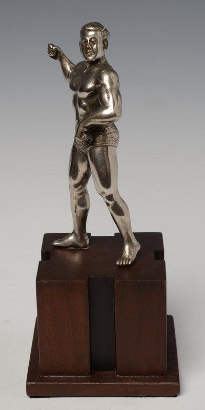 20th Century, Burmese Bronze Standing Bodybuilder