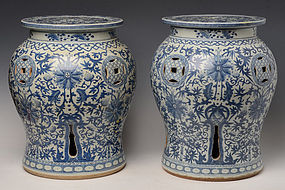 A Pair of Porcelain Garden Stools with Flower Design