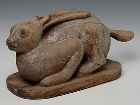 19th century, Burmese Wooden Rabbit
