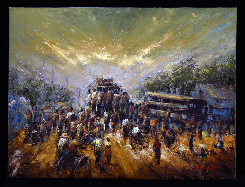 Burmese Oil Painting of Burmese Daily Life
