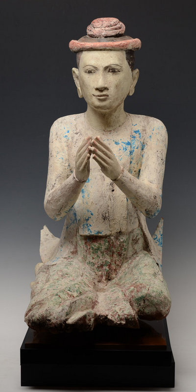 19th Century, Mandalay, Burmese Wooden Seated Figure
