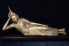 18th Century, Large Burmese Wooden Reclining Buddha