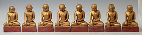19th C., A Group of Burmese Wooden Seated Disciples