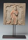 Song Dynasty, Chinese Pottery Panel with Lady Figure Design