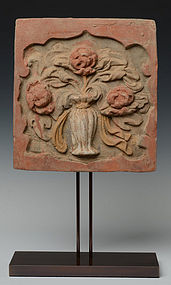 Chinese Pottery Panel with Flower Design