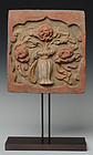 Song Dynasty, Chinese Painted Pottery Panel with Flower Design