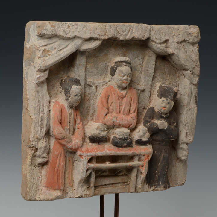 Song Dynasty, Chinese Painted Pottery Panel with Figures Design