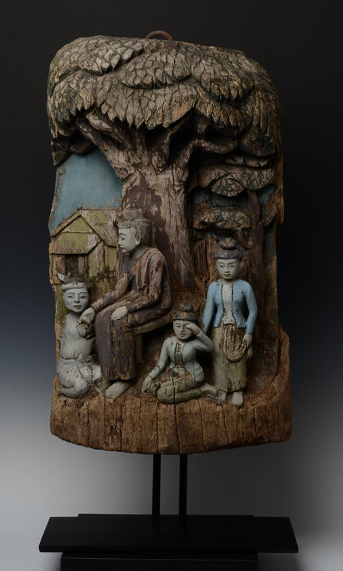 19th Century, Mandalay, Burmese Wooden Panel with Figures Design