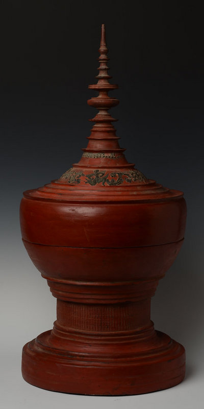 19th Century, Mandalay, Burmese Lacquered Offering Vessel
