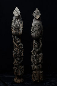 A Pair of Burmese Wooden Chofa with Figures Design