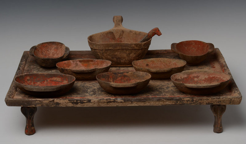 Han Dynasty, A Set of Chinese Pottery Table with Wing Cups and Spoon